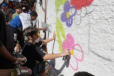 foto Kinderen tijdens de cursus graffiti